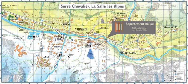 L'appartement Baïkal se trouve au centre du village de la Salle les Alpes Villeneuve à Serre Chevalier